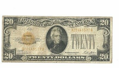 1928 $20 Small Size Gold Certificate Fr2402 Grades Vf