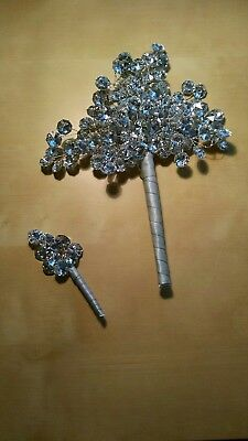 Crystal bouquet and boutonnière - repurpose for crafts