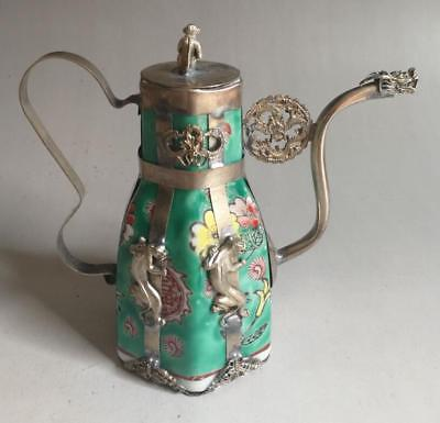Collection Colour Porcelain Armor Dragon Tibet Silver Handwork Poeny Teapot
