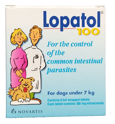 LOPATOL 100 Swiss NOVARTIS Oral Wormer Tablet Tapeworm Roundworm Worms for Dogs