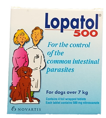 LOPATOL 500 Swiss NOVARTIS Oral Wormer Tablet Tapeworm Roundworm Worms for Dogs