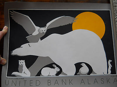 "UNITED BANK ALASKA defunct since 1988 Ad Poster ""United in Winter White""  SOfe??"