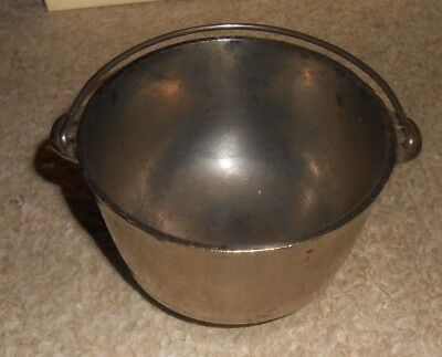 "Vintage Rare Wagner Ware 3 Legged Nickle Plated 3"" Small Kettle With Bail Handle"