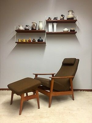 Teak High Back Easy Chair + Ottoman Dänisch Design mid century 60er Juhl Ära