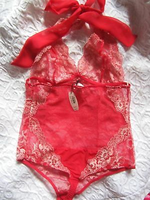 VICTORIA'S SECRET red lace all in one teddy SZ MED NWT