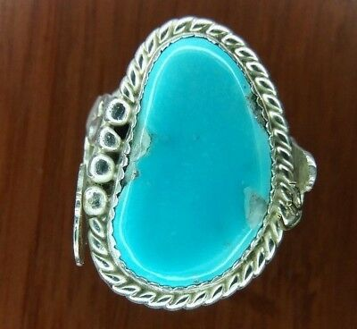 Ancient Custom Ring #4 Sail Clear,Sterling Silver With Sleeping Beauty Turquoise