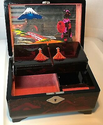 Vintage Japan Cherry Red Lacquer Painted Abalone Expansion Jewelry Mirror Box
