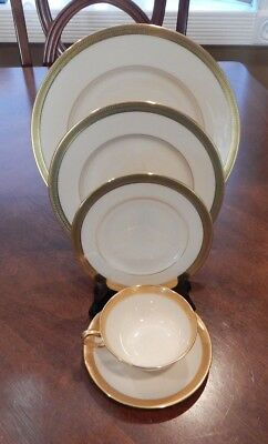 """Lenox """"lowell"""" P-67 Pattern 5 Piece Place Setting (S) Made In Usa Gold Backstamp"""