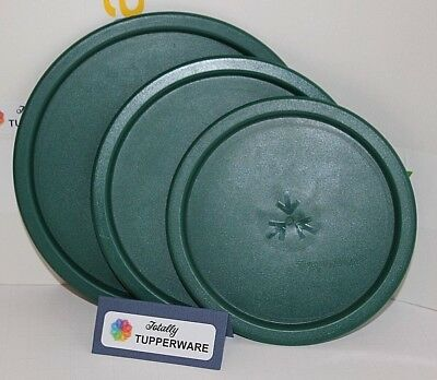 TUPPERWARE One-Touch Canister Seals B C D Green 3 Replacement Container Lids NOS