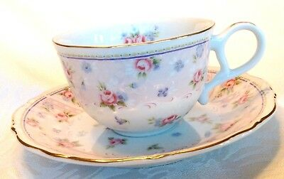 Andrea By Sadek Petit Rose Teacup And Saucer - Gold Trim - Never Used