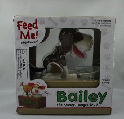 Bailey the Money Hungry Mutt Mechanical Doggie Bank In Box - NEW SEALED