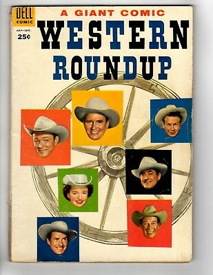 Western Roundup #11 Roy Rogers Gene Autry Champion Dell Giant 1955