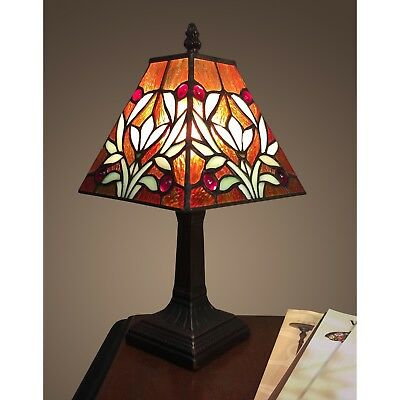 Tiffany Style Table Lamp Small Decorative Stained Glass Mission Craftsman Light