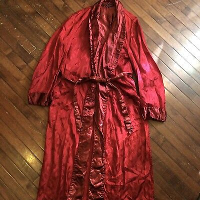 Rabhor Robes Burgundy Satin & Silk Vintage 50s Mens Large Smoking Jacket Robe