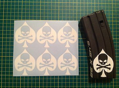 AR  Magazine Ace Of spades Death Sticker 6 Pack, AR, AK, Airsoft, All Colors!