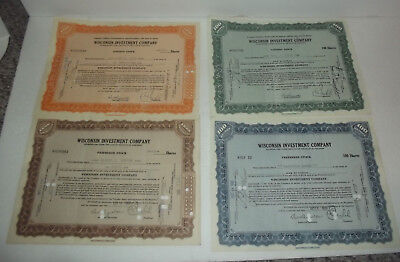 Neat Group Of 4 Used Stock Certificate Lot Of 1929 Wisconsin Investment Company