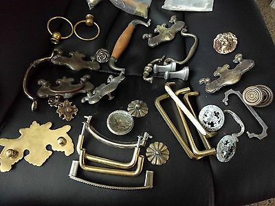 Antique vintage lot metal brass drawer pulls