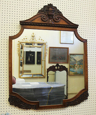 Beautiful Inlaid Walnut French Louis XV Carved Antique Wall Vanity Mirror C1920