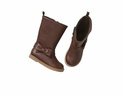 Baby Gap Girls Tall Side Zip Bow Boots Brown Faux Leather Toddler Size 9 NWT