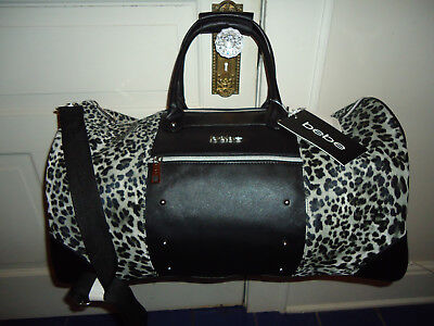 Bebe Cheetah Leopard Weekender Duffel Carry On Travel Overnight Bag Rare! Nwt