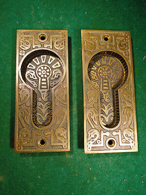 PAIR of CAST BRONZE POCKET DOOR PULL PLATES - EASTLAKE CIRCA 1890 (4280-1)