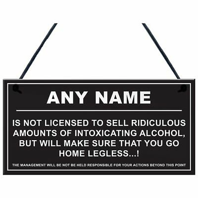 Personalised Man Cave Sign Home Shed Pub Bar Licensee Funny Alcohol License U1H6