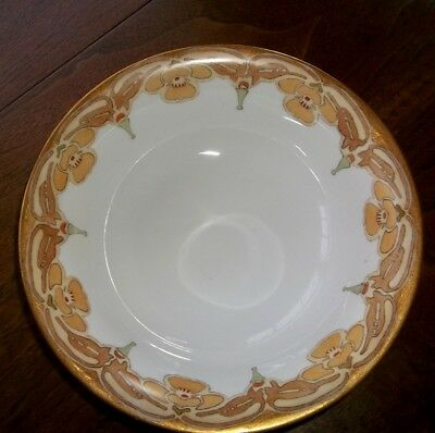 Antique Arts & Crafts Mission Style Design Hand Painted Bowl Signed
