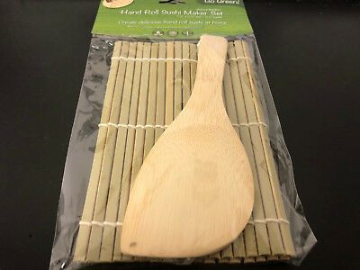 Helen's Asian Kitchen Hand Roll Sushi Mat with Paddle original bamboo