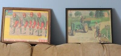 Two Framed Reproduction Advertising Art Prints JOHN DEERE and NOTRE DAME