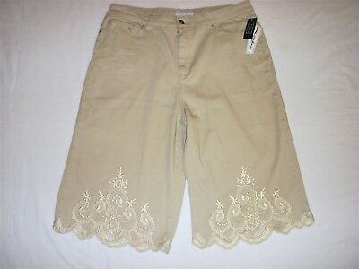 NWT Jamie Nicole Women Embroidered Shorts Size 18 Beige Gray Cotton Stretch