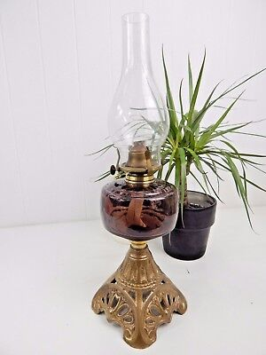 Original Vintage Antique Purple Victorian Glass Oil Lamp - Cast Iron Base