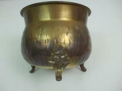 """Vintage Small Round Footed Solid Brass Planter Container 3 Ornate Feet 3.25""""tall"""