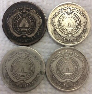 1883 Honduras 25 Cents Centavos 0.900 Silver Coins Lot of 4 Coins