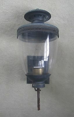 Vintage 1960's OUTDOOR WALL SCONCE porch light fixture glass black accents decor
