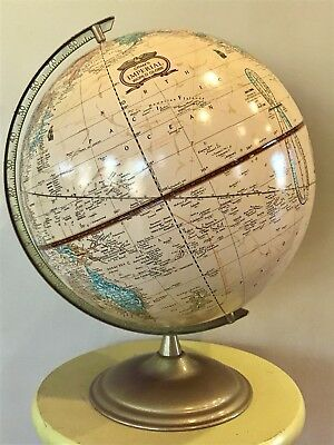 "Vintage Cram's World Globe 16"" Tall Maps Decoration Geography Education Brass"