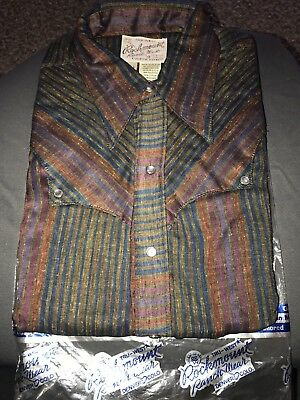 VTG Rockmount Ranch Western Shirt Stripes 15 1/2 Pearl Snap Rockabilly Deadstock