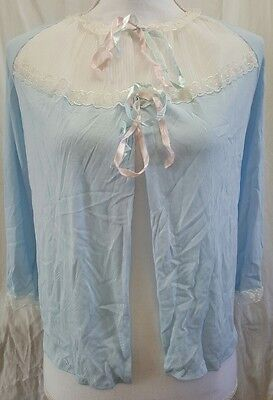 Vtg Womens 1960s 70s Frilly Bed Jacket House Coat Negligee Lace Blue Pink Sz M