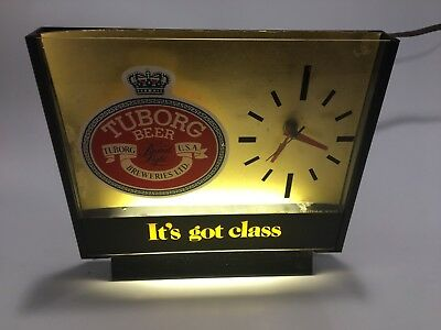 Vintage TUBORG BEER Light Up Advertising Table Clock