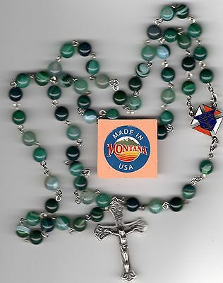 Knights of Columbus Green Stripe Agate 8mm Rosary