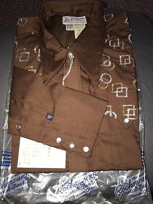 VTG Rockmount Ranch Brown Embroidered  15 1/2-35 Pearl Snap Rockabilly Deadstock