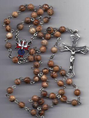 Knights of Columbus-Picture Jasper 8mm Beads