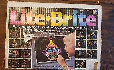 Lite Brite Working Toy In Original Box With Many Sheets And Pegs Vintage