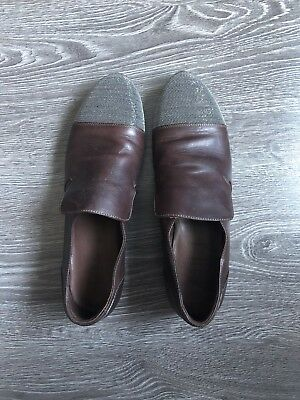 Brunello Cucinelli Brown Sparkle Leather Loafers Flats Shoes Size 40