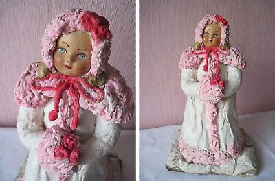 Russian Antique Vintage Snow Maiden,Girl from a Fairy Tale,Papier-Mache,USSR,50s