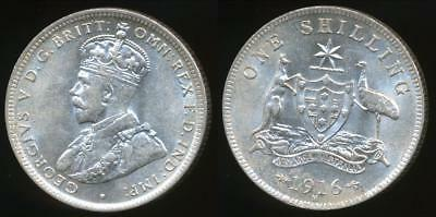 Australia, 1916(m) One Shilling, 1/-, George V (Silver) - Uncirculated