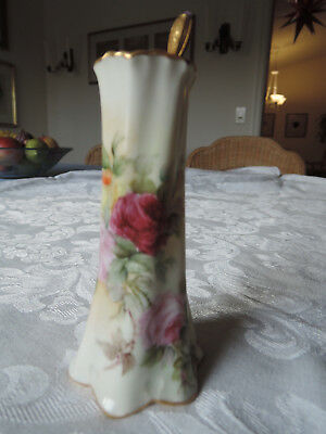 gorgeous ZS Bavaria handpainted, signed hatpin holder with roses