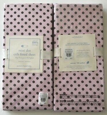 Pottery Barn Kids Crib Fitted Sheet Organic Pink Dot Chocolate Brown New