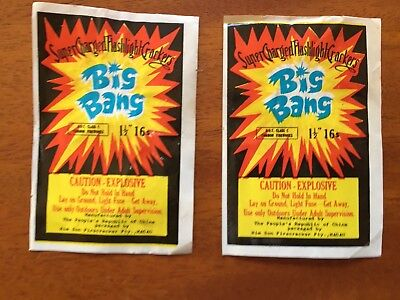 Two Vintage Big Bang  Firecracker Labels In Excellent Condition
