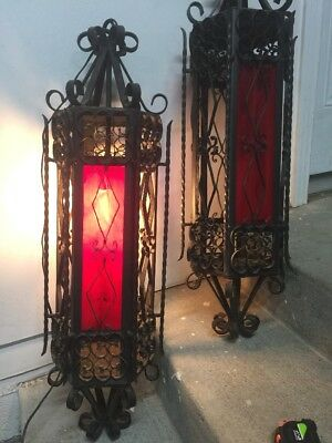 2 Vintage Wrought Iron Gothic Spanish Hanging Swag Lamps Light RED