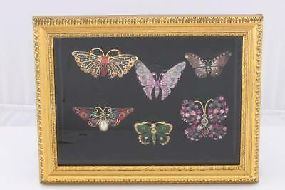 Joan Rivers Bejeweled Set of 6 brooch Butterfly Collection and Shadow Box